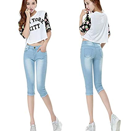c8dd10373e635 Image Unavailable. Image not available for. Color  DHmart Plus Size Skinny  Capris Jeans Woman Stretch Knee Length Shorts Denim ...