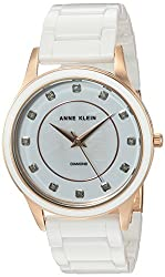Anne Klein Women's AK/2392RGWT Diamond-Accented Rose Gold-Tone and White Ceramic Bracelet Watch