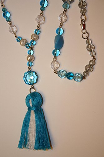 Long Tassel Necklace Handmade Boho Aquamarine Blue & White Tassel Multi Colored Beaded Czech Glass Roses Rosary Style Large Statement - Glasses Modern 2016 Styles