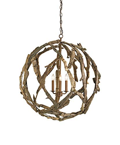 Currey and Company 9078 Driftwood - Three Light Orb Chandelier, Natural Finish