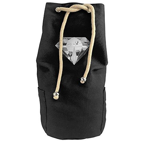 Women's Canvas Travel Bag Student Drawstring Bucket Backpack (Blue) - 2