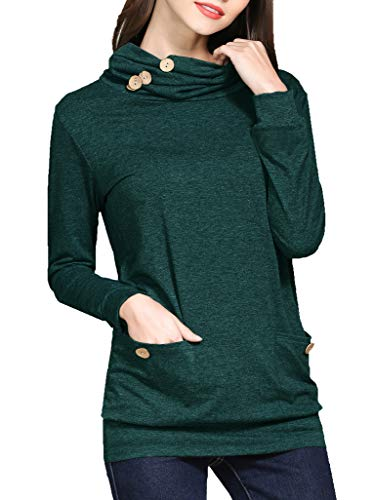 GSVIBK Women Button Cowl Neck Long Sleeve Tunic Casual Tunics Tops with Pockets 211 Green M