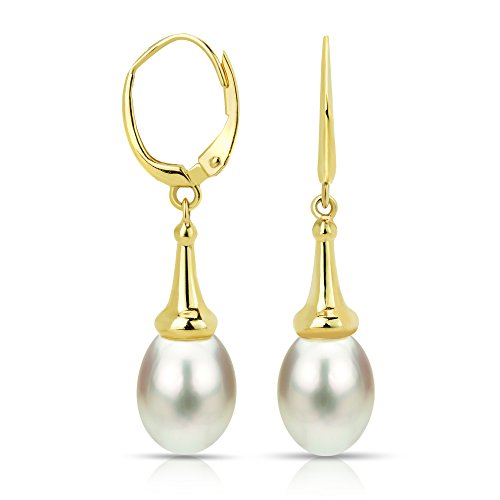 14k Yellow Gold 8-8.5mm White Freshwater Cultured Pearl Trumpet Cup Lever-back Earrings