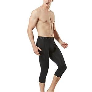 TM-MUC18-KLB_Large Tesla Men's Compression 3/4 Capri Shorts Baselayer Cool Dry Sports Tights MUC18