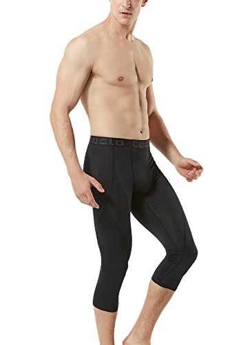 TSLA TM-MUC18-KLB_Medium Men's Compression Capri Shorts Baselayer Cool Dry Sports Tights MUC18 by TSLA (Image #7)
