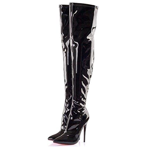 De las mujeres Botas de tacón alto Señoras Bien con Puntiagudo Charol Elasticidad Botas de rodilla Botas altas Botas de latón , A , 40 A-37