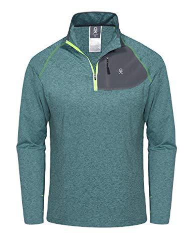 (Little Donkey Andy Men's Half Zip Stand-Collar Long Sleeve Running Top Green Heather XL)