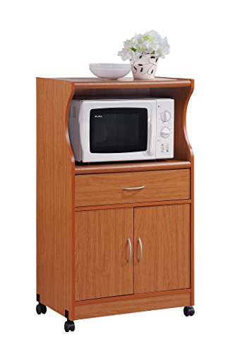 Hodedah Microwave Cart with One Drawer, Two Doors, and Shelf for Storage, Cherry (Doors Two Drawer One)