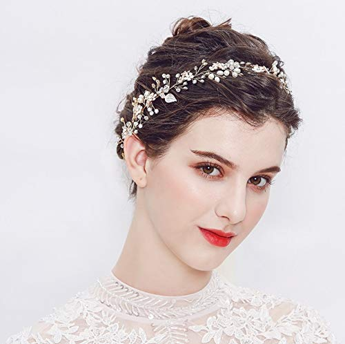 - FaFaVila Wedding Rose Gold Hair Vine Ribbon Headband Handmade Bridal Headband Hair Accessories for Bride and Bridesmaid, with Crystal Beads, Rhinestones, Ivory Beads