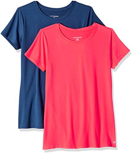 Amazon Essentials Women's 2-Pack Tech Stretch Short-Sleeve Crewneck T-Shirt, Bright Pink/Navy, Small by Amazon Essentials (Image #1)
