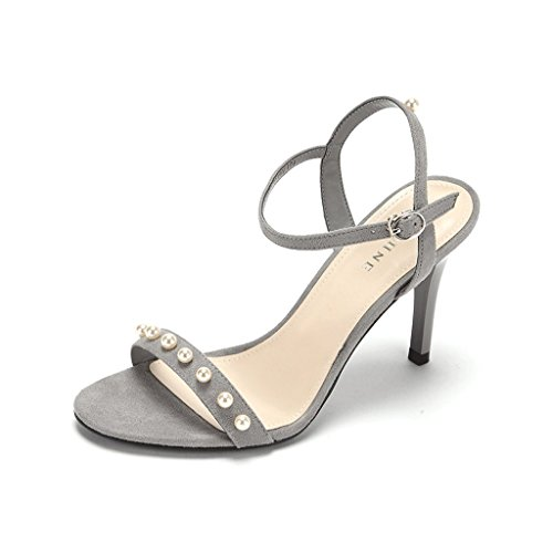 Fashion Banquet Fine High Heels Sexy Flow Beads Decorated Women Sandals Shoes (Color : Gray, Size : 35)