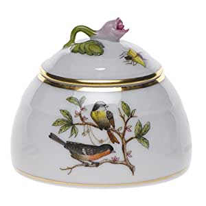 Herend Rothschild Bird Honey Pot With Rose Lid