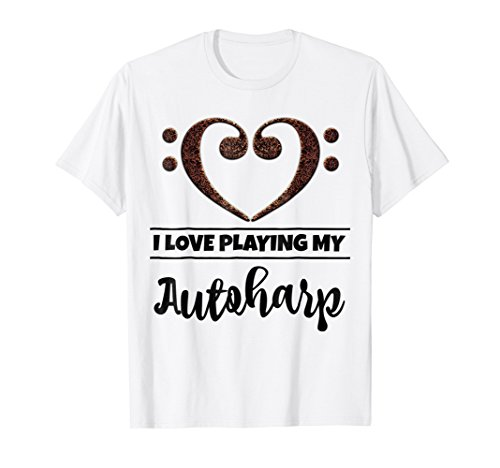 Double Bass Clef Heart I Love Playing My Autoharp T-Shirt