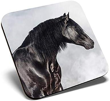Posavasos cuadrado con diseño de caballo andaluz negro | Posavasos de calidad brillante | Protección de mesa para cualquier tipo de mesa #12493