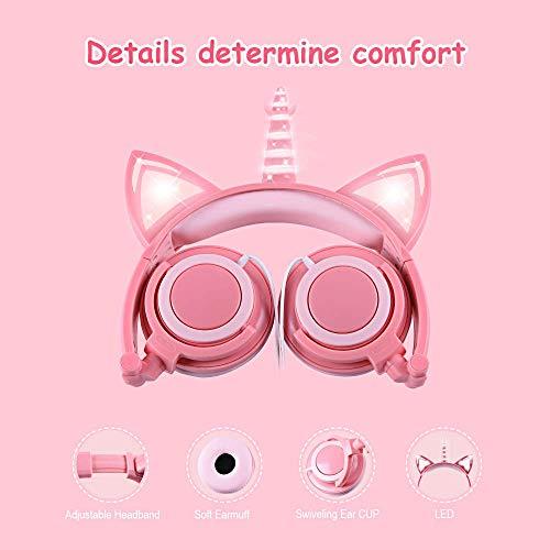 LOBKIN Cuffie unicorno per bambini/ragazze, orecchie di gatto luminose con LED, cuffie cablate regolabili con volume 85dB per tablet/giocattoli/PC/TV/telefono (rosa)