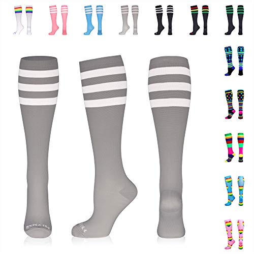 NEWZILL Compression Socks (20-30mmHg) for Men & Women, Best Graduated Athletic Fit for Running, Nurses, Shin Splints, Flight Travel & Pregnancy. Boost Circulation (Stripes Grey/White, Medium)