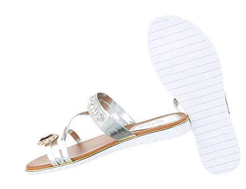 Damen Sandalen Schuhe Zehentrenner Sandaletten Gold Schwarz Silber 37 38 39 40 41 42 Silber