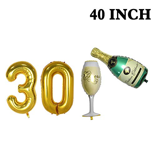 (Number 30 Balloons and Champagne Balloons Set - Large, 40 Inch Foil Gold Balloons  Champagne Bottle and Goblet Balloons,40 Inch   30th Birthday Party Decorations Party Supplies for Anniversary)