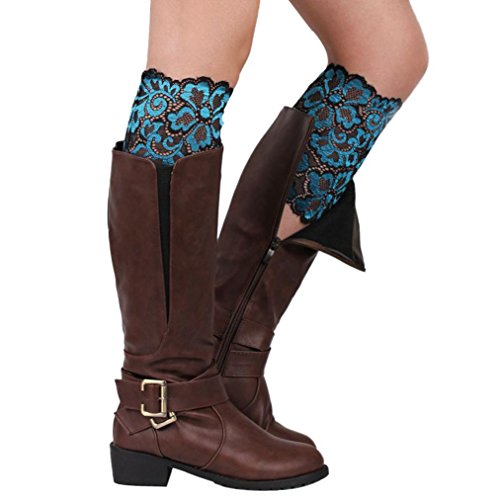 HP95(TM) Stretch Lace Boot Leg Cuffs Soft Laced Boot Socks for Women Girls (Light (Laced Leg)