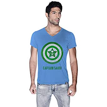 Creo Blue Cotton V Neck T-Shirt For Men