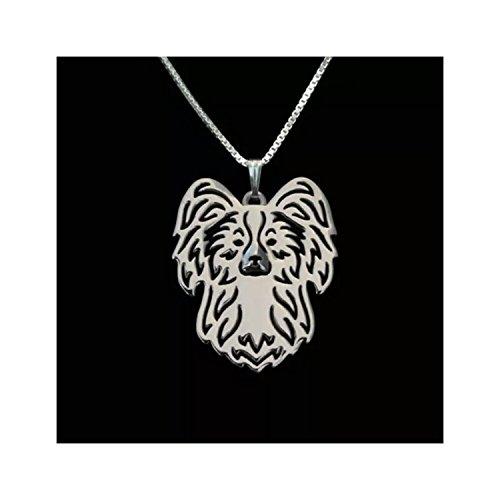 Papillon Dog Necklace Silver-Tone