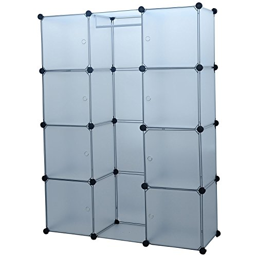 HomCom Modular Portable Storage / Clothes Closet w/ 8 Enclosed Cubes