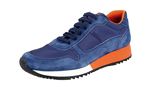 Prada Women's 3E5939 Blue Leather Sneaker US 9 / EU 39 (Women Prada Sneakers)