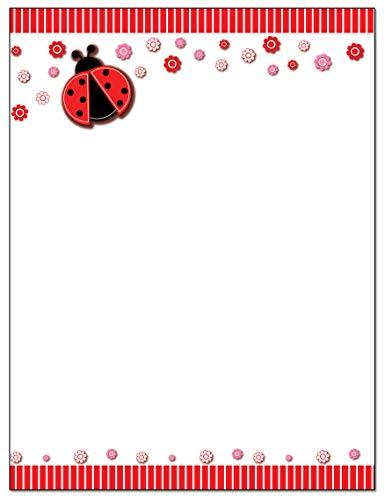 Ladybug Border Stationery - 8.5 x 11-60 Letterhead Sheets - Border Letterhead (Ladybug)