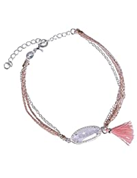 KELITCH Handmade Braided Silver-Plated Chain Bangle Natural Crystal Gemstone Bracelet Tassel