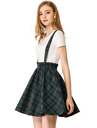 Allegra K Women's Plaid Pleated Mini Tartan Overall Skater Suspender Skirt