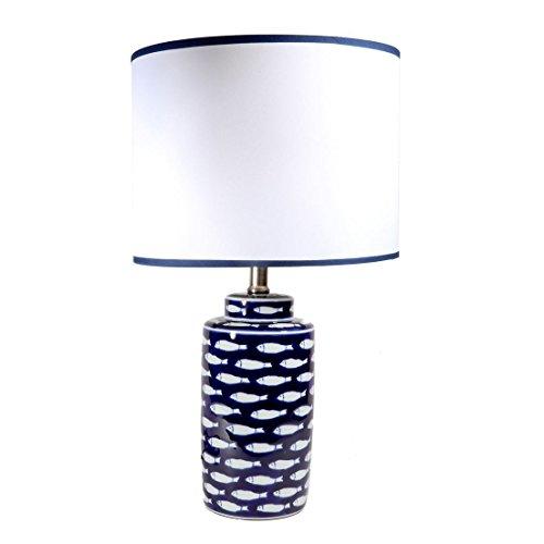Ceramic Finish Glazed (DEI Coastal 20 inches Ceramic Fish Lamp with Glazed Finish Dark Blue and White)