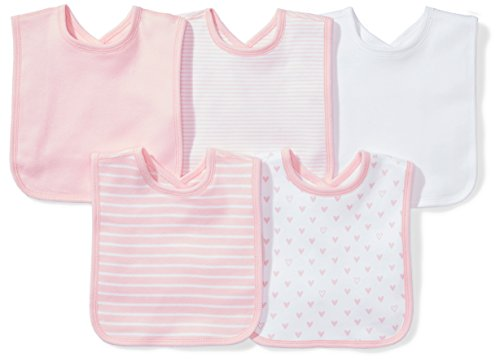 Moon and Back Baby Set of 5 Organic Reversible Bibs, Pink Blush, One ()
