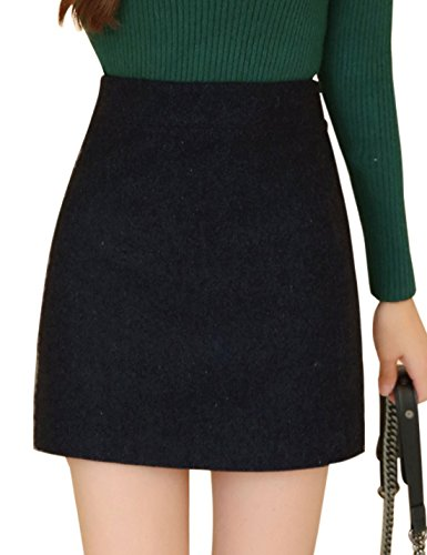 Suit Wool Skirt Red (Tanming Women's Red and Gray Plaid Wool Hi-Waist Skirt (Small, Black))