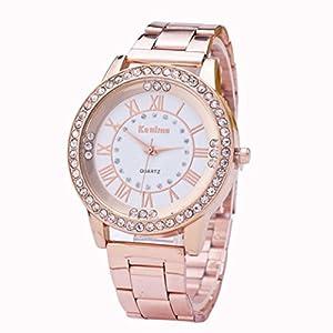 FAMILIZO Mujeres Hombres Elegante Moda De Cristal Rhinestone De Acero Inoxidable Reloj De Cuarzo Analógico De Cuarzo (Oro rosa) 41mbrxEKRhL