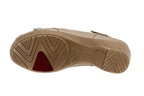 Calzado mujer confort de piel Piesanto 6558 sandalia cuña zapato cómodo ancho Platino-Extr