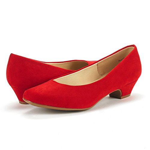DREAM PAIRS Womens Mila Low Chunky Heel Pump Shoes Red Suede jVRPTc8