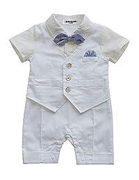 HeMa Island Baby Boy Gentleman White Shirt Waistcoat Bowtie Tuxedo Onesie Jumpsuit Overall Romper