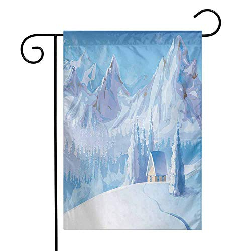 (Winter Garden Flag Little House Below The Majestic Mountains in The Winter Ice Blizzard Frozen Cold Weather Premium Material W12 x L18 Blue)