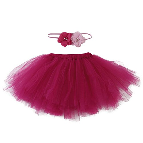 Newborn Baby Girls Photo Photography Prop Tutu Skirt Headband Outfit Clothes Set (O)]()