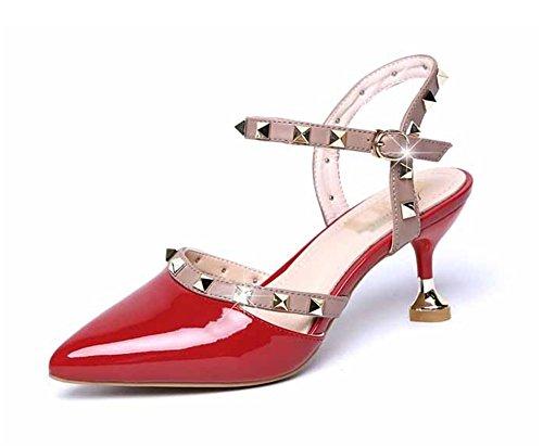 NVXIE Summer rivets sandales pour femmes sauvages multicolores chaussures pour femmes pointues chaussures à talons hauts 35-38 red