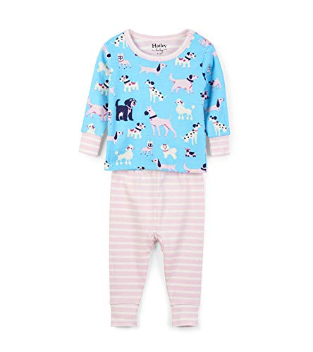 Hatley Baby Girls Organic Cotton Long Sleeve Mini Pajama Sets, Playful Pooches, 3-6 Months