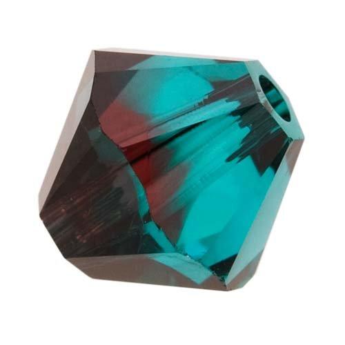 (Swarovski Crystal, #5328 Bicone Beads 6mm, 20 Pieces, Burgundy Blue Zircon Blend)