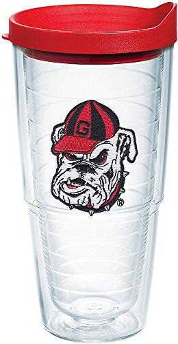 Georgia Bulldogs Emblem - Tervis 1087763 Georgia Bulldogs Bulldog Head Uga Tumbler with Emblem and Red Lid 24oz, Clear