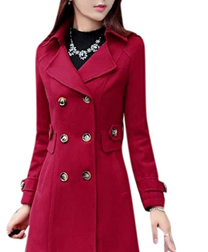 Lingswallow Women's Vintage Lapel Trench Coat Double Breasted Wool Jacket Red
