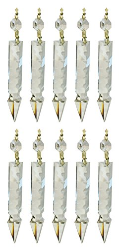 Royal Designs Replacement Chandelier Clear Crystal Prism K9 Quality Large Arrowhead Prism with Polished Brass Connectors and an Octogan Crystal Bead Pack of 10
