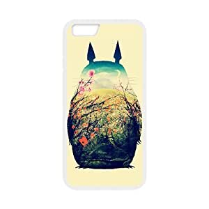 Hand Painted Animal Cartoon Series Totoro Color Design Popular Coral Custom Luxury Cover Case For Iphone 6 Plus (5.5inch)(White) with Best Silicon Rubber ALL MY DREAMS