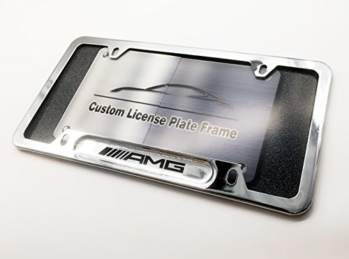 AMG Logo Emblem Mercedes Benz MB Mercedes-Benz Custom Automotive License Plate Frame (Car Accessory Warehouse Exclusive Product) Polish Mirror Silver Chrome Color Slim 4 Holes Frame Tag Bracket - Frames Warehouse