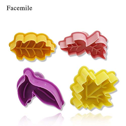 1 Set 4Pcs/set Plunger Cookie Cutter Kit DIY Fall Maple Leaf Cake Mold Flower Plungers Fondant Pastry Craft Food Decor 03102 Gift ()