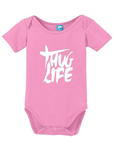 Thug Life Printed Infant Bodysuit Baby Romper Pink 6-12 Month (Girls Tupac Shirt)
