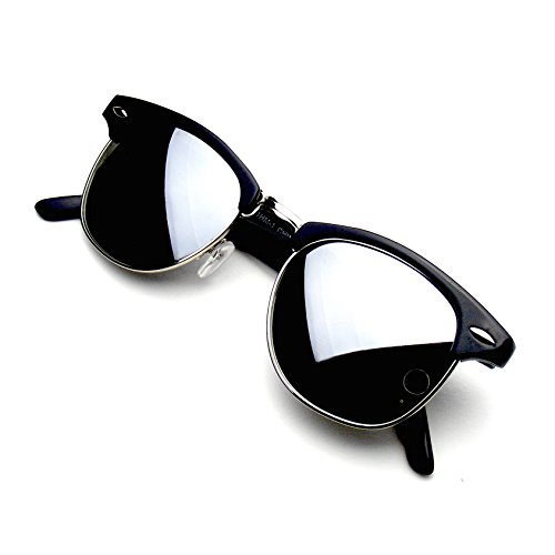 Retro Fashion Half Frame Flash Mirror Lens Clubmaster Wayfarer Sunglasses (Silver Mirror, - Flash Silver Lenses